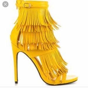 Privileged Melko strappy tiered fringe heels